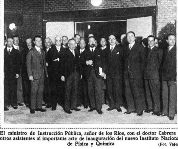 Fernando de los Rios 1932 Blas Cabrera y otros inauguracion INFQ